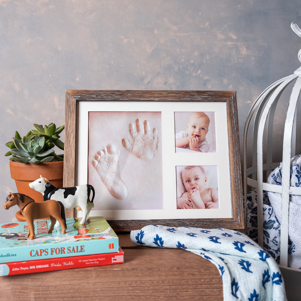Brown Frame Farmhouse Baby Handprint Kit - Barnwood Brown