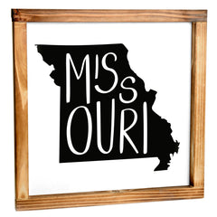 Missouri Sign - Rustic Farmhouse Decor For The Home Sign, Farmhouse State Gift 12x12