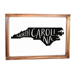 North Carolina Sign - Rustic Farmhouse Decor For The Home, Modern Farmhouse State Gift 11x16
