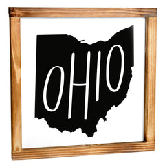 Ohio Sign - Rustic Farmhouse Decor For The Home Sign, Farmhouse State Gift 12x12