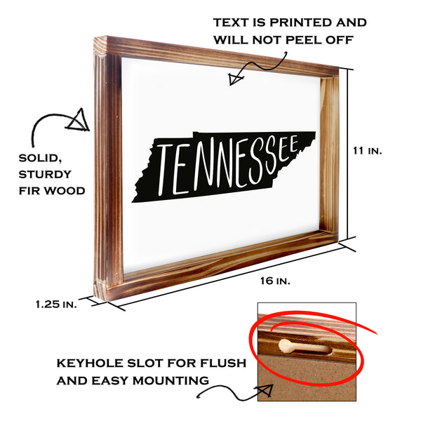 Tennessee Sign - Rustic Farmhouse Decor For The Home, Modern Farmhouse State Gift 11x16