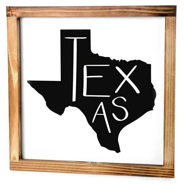 Texas Sign - Rustic Farmhouse Decor For The Home Sign, Farmhouse State Gift 12x12