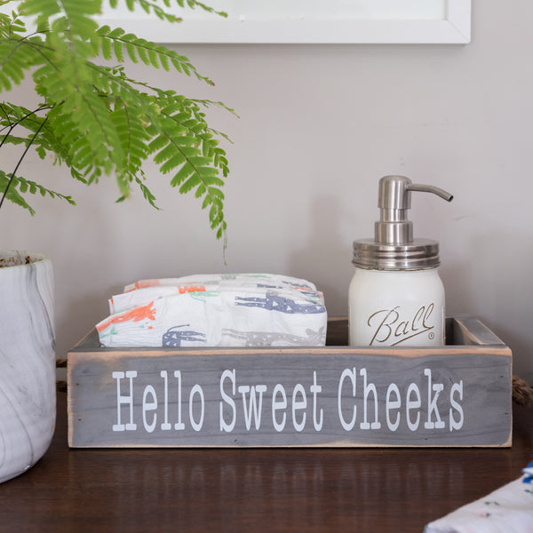 Nice Butt Bathroom Decor Box, 2 Sides with Funny Sayings - Grey
