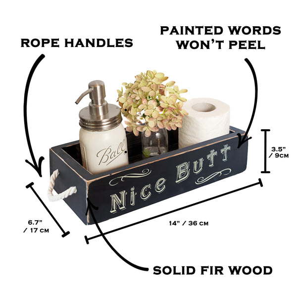 Nice Butt Bathroom Decor Box, 2 Sides with Funny Sayings - Black
