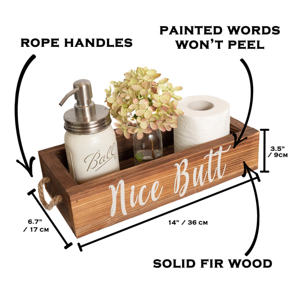 Nice Butt Bathroom Decor Box, 2 Sides with Funny Sayings - Brown