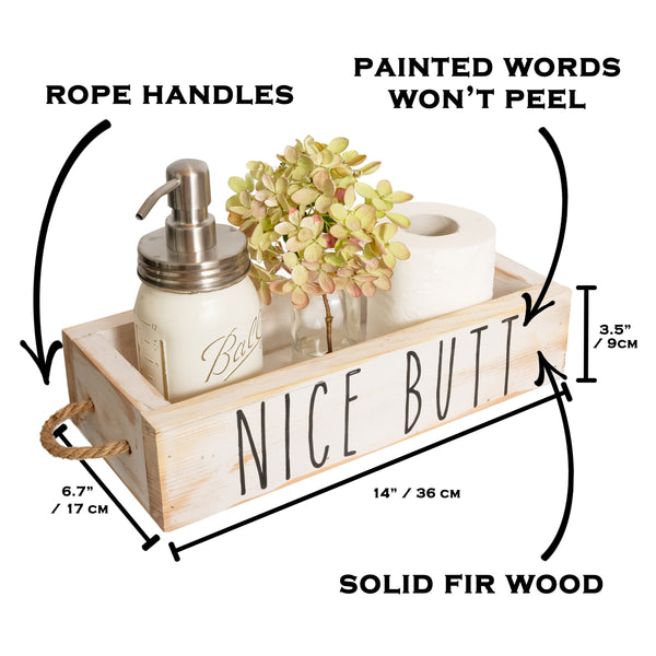 Nice Butt Bathroom Decor Box, 2 Sides with Funny Sayings - White