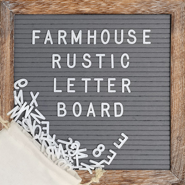 Grey 10x10 Barnwood Frame Farmhouse Rustic Letter Board
