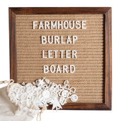10x10 Cherry Wood Burlap Letter Board