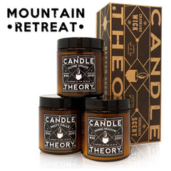 Mountain Retreat Scented Candle Gift Set - 3, 4 oz Candles - Crackling Wood Wicks - 3 Scents - Misty Falls, Alpine Spruce, Spring Meadow
