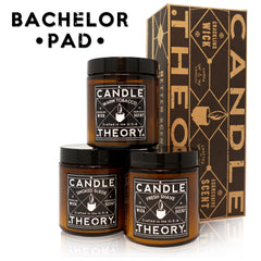 Bachelor Pad Scented Candle Gift Set - 3, 4 oz Candles - Crackling Wood Wicks - 3 Scents - Warm Tobacco, Smoked Suede, and Fresh Shave