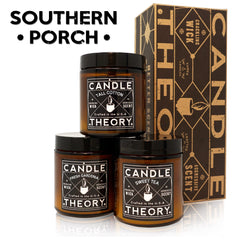 Southern Porch Scented Candle Gift Set - 3, 4 oz Candles - Crackling Wood Wicks - 3 Scents - Tall Cotton, Fresh Gardenia, Sweet Tea