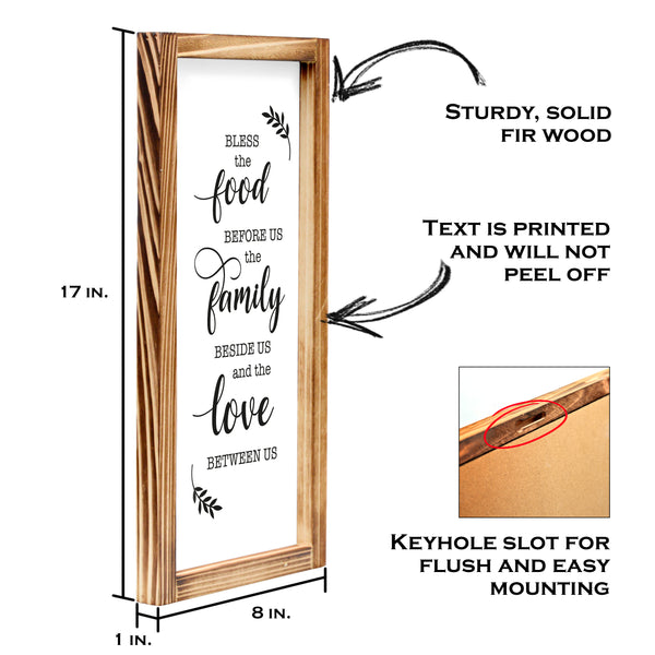 Bless This Food Sign - Modern Farmhouse Kitchen Sign 8x17