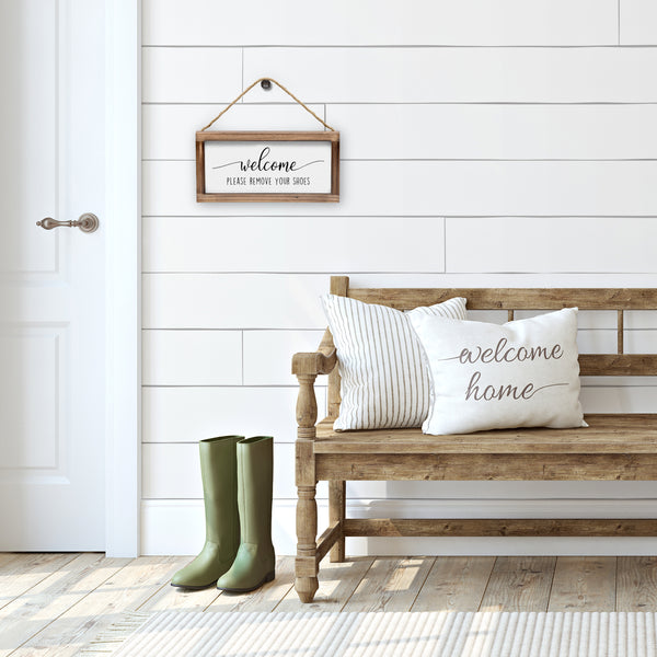 Please Remove Shoes Sign - Modern Farmhouse Wall Hangiing Sign 6x12