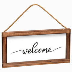 Welcome Hanging Sign - Modern Farmhouse Wall Hangiing Sign 6x12