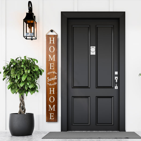 Tall Outdoor Welcome Sign For Porch (5 Ft) (Brown)