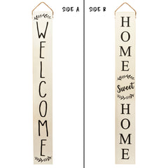 Tall Outdoor Welcome Sign For Porch (5 Ft) (White)