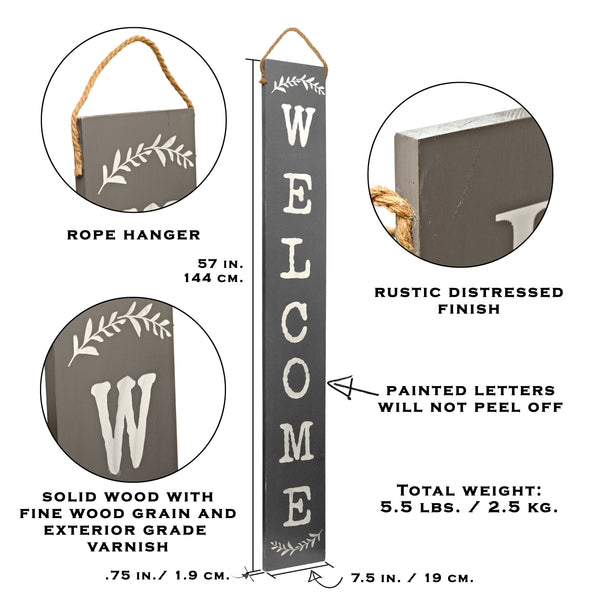 Tall Outdoor Welcome Sign For Porch (5 Ft) (Grey)