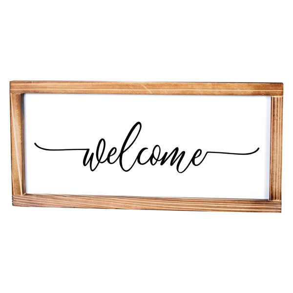 Welcome Sign - Rustic Farmhouse Decor For The Home Sign - Modern Farmhouse Wall Decor 8x17