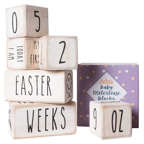 Baby Monthly Milestone Blocks - 6 Blocks With Holidays, Calendar Days and Other Bonuses!  (White)