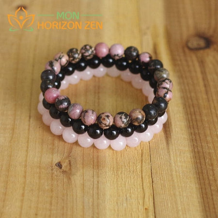 bracelets quartz rose onyx rhodonite