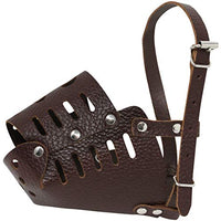 "Real Leather Dog Cage Basket Muzzle Small Breeds (Circumf.9.5""; Snout 3.25"")"