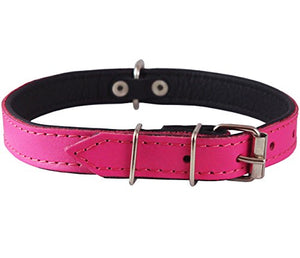 Real Leather Soft Leather Padded Dog Collar Pink/Black