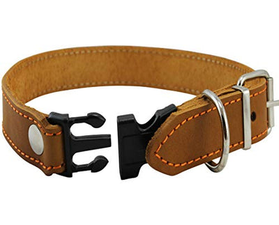Tan Quick Release Genuine Leather Classic Dog Collar 1