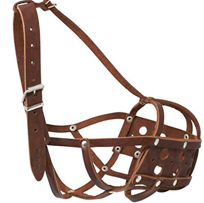 Secure Real Leather Dog Mesh Basket Muzzle Brown (Circum. 16.5