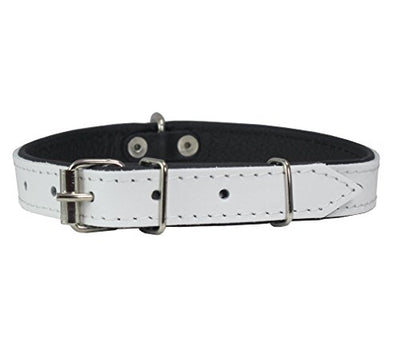 Real Leather Soft Leather Padded Dog Collar White/Black