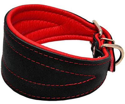 Real Leather Extra Wide Padded Tapered Dog Collar Glossy Black Lurcher Whippet Dachshund Red
