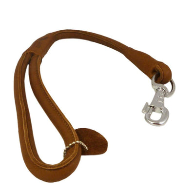 Brown Round Genuine Rolled Leather Dog Short Leash 20