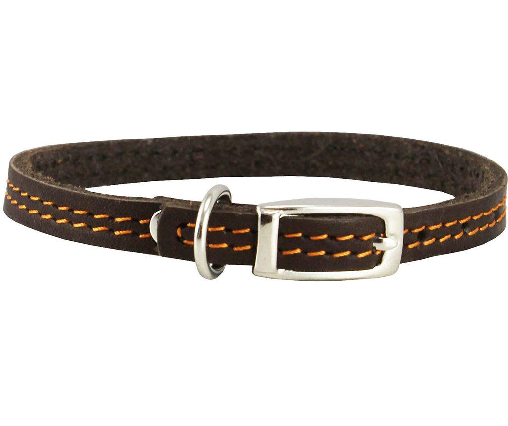 "Genuine Leather Dog Collar 8""-9.5"" Neck for Smallest Breeds and Young Puppies Brown"