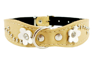 "Beige Genuine leather Designer Dog Collar 14.5""x1"" with Studs, Daisy, and Rhinestone"