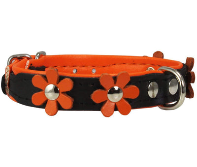 Real Leather Daisy Flowers Dog Collar Black/Orange