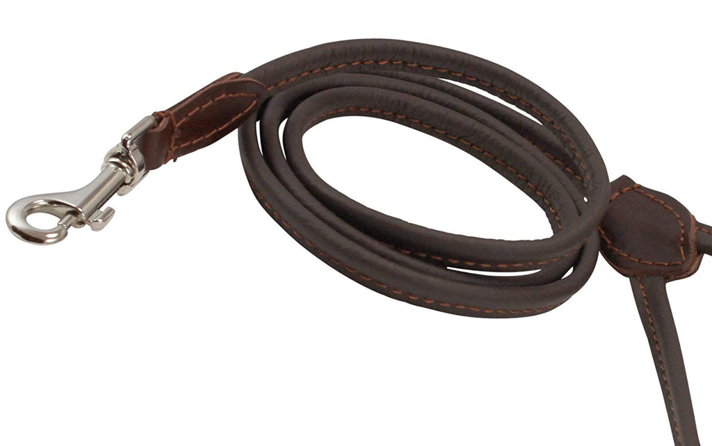 Dogs My Love 4ft Long Round Genuine Rolled Leather Dog Leash Brown