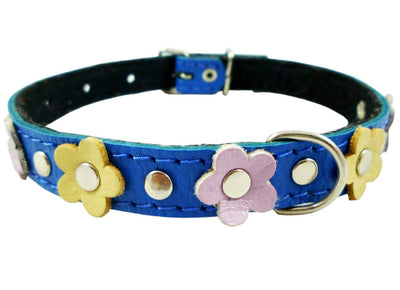 Genuine Leather Designer Dog Collar Daisy Studs. 11.5
