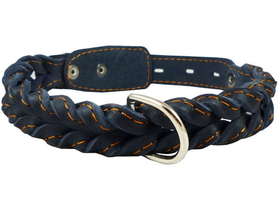 Genuine Leather Braided Dog Collar 17
