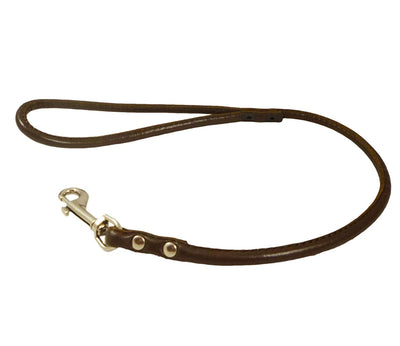 Round Genuine Rolled Leather Dog Short Leash 24