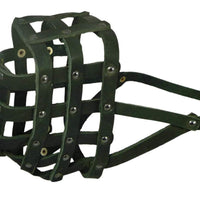 "Real Leather Dog Basket Muzzle #115 Black (Circumference 18"", Snout Length 4.7"") Mastiff, Great Dane"