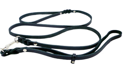 Slip Leash in Black Genuine Leather Lead and Collar system, Total 6' (Leash itself 54