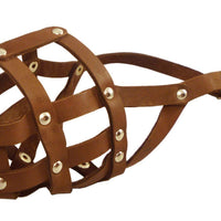 "Genuine Leather Dog Basket Muzzle #105 Brown - Pit Bull, AmStaff (Circumf 12"", Snout Length 3.5"")"