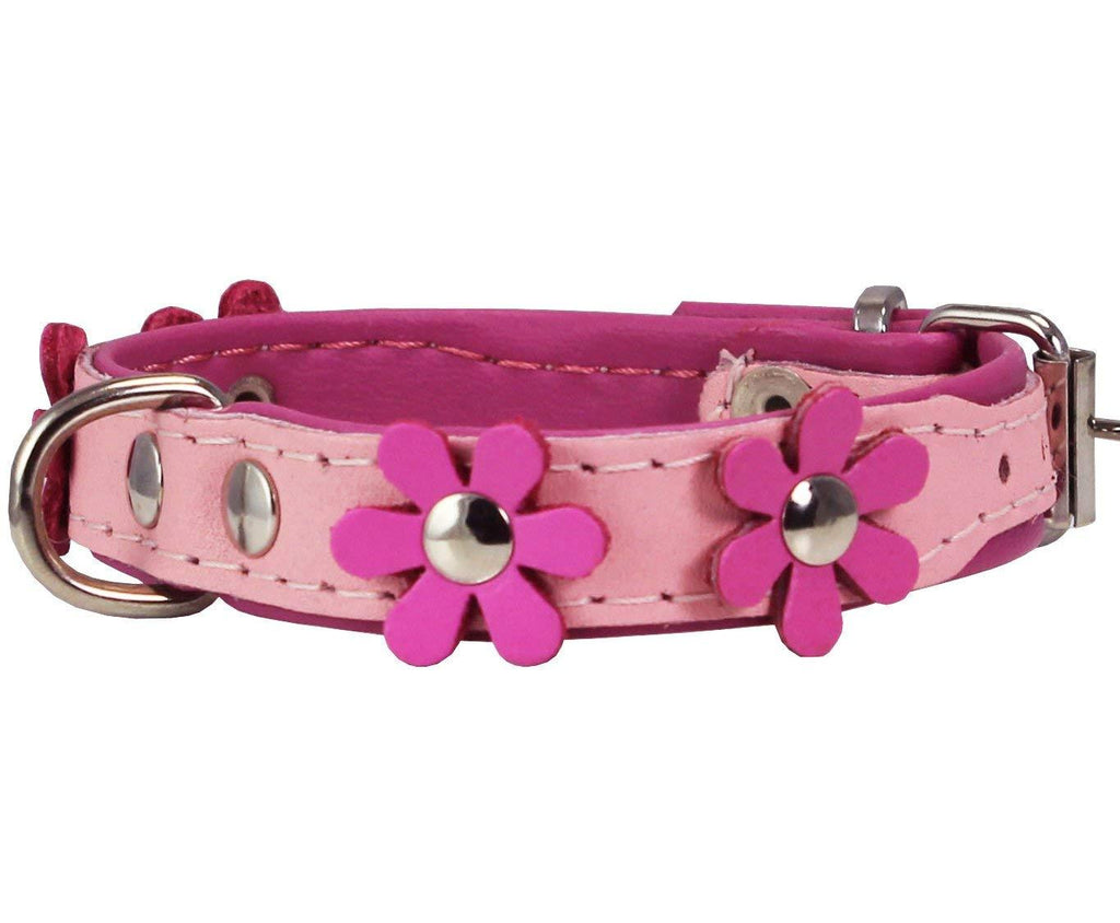 Real Leather Daisy Flowers Dog Collar Pink/Baby-Pink