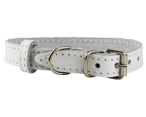 Genuine Leather Dog Collar for Smallest Dogs and Puppies 3 Sizes White