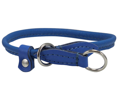 Dogs My Love Round High Quality Genuine Rolled Leather Choke Dog Collar Blue