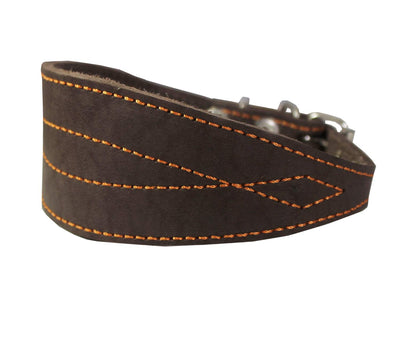 Brown Real Leather Tapered Extra Wide Whippet Dog Collar 2