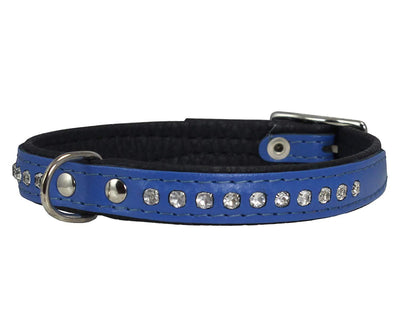 Dogs My Love Rhinestone Genuine Leather Dog Collar Blue