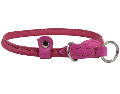Round High Quality Genuine Rolled Leather Choke Dog Collar Pink