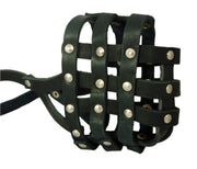 "Real Leather Dog Basket Muzzle #107 Black - Pit Bull, AmStaff (Circumference 12"", Snout Length 3.5"")"