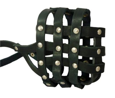 Real Leather Dog Basket Muzzle #107 Black - Pit Bull, AmStaff (Circumference 12