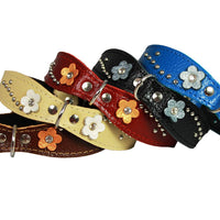"Red Genuine leather Designer Dog Collar 14.5""x1"" with Studs, Daisy, and Rhinestone"
